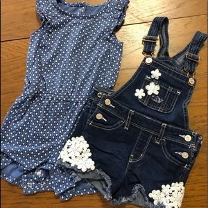 Other - Toddler Girls 3T Romper and Denim Overalls.